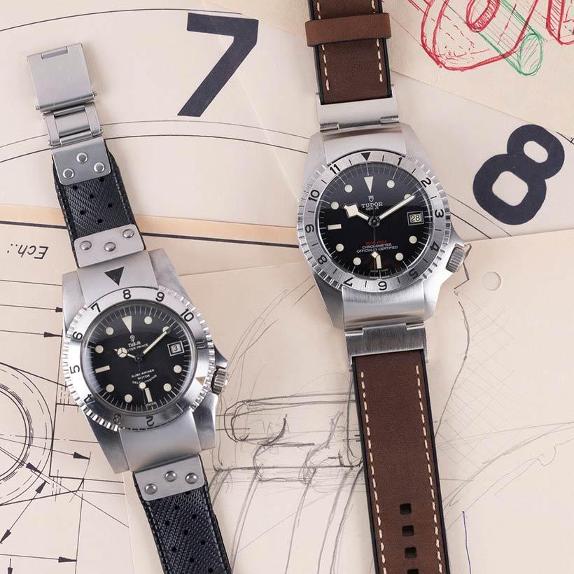 Prototipo de 1967 y modelo actual del reloj Tudor Black Bay P01