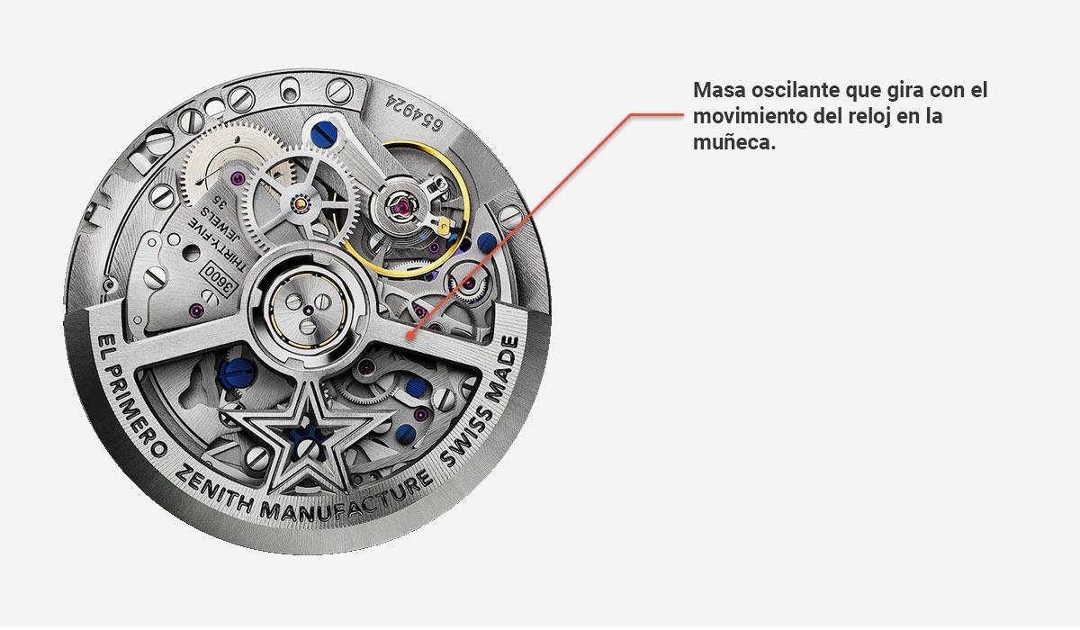 Mecánica automática de un reloj de pulsera Zenith