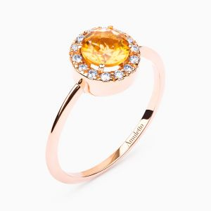 Anillo Amuletto de oro rosa con citrino central y orla de diamantes