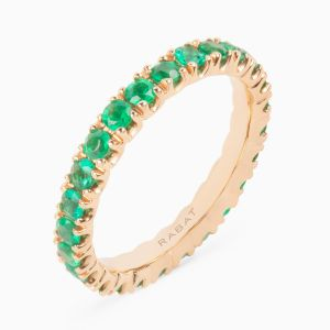 Rabat rose gold 18 kts. ring with emeralds