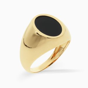 Oval signet ring in gold and onyx