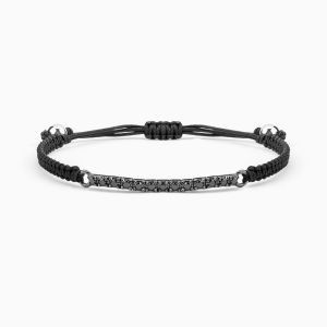 Riviere Type Bracelet with Black Diamonds with black thread