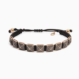 Rabat string bracelet with rose gold and black diamonds