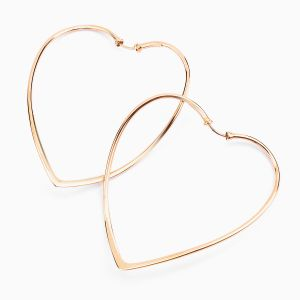 Gold Hoop Earrings with Heart Shape