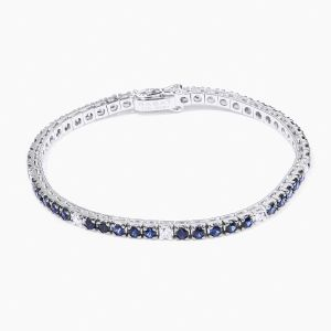 Bracelet riviére Rabat white gold with blue sapphires and diamonds