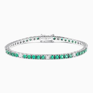 Rabat white gold 18 kts. bracelet with emeralds