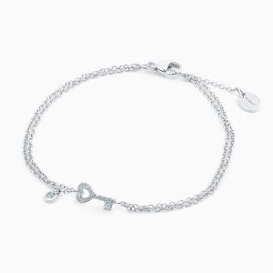 Bracelet Chain with Diamonds in a Key Shape