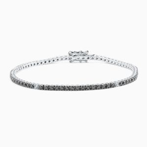 Riviere Type Bracelet with Black and White Diamonds