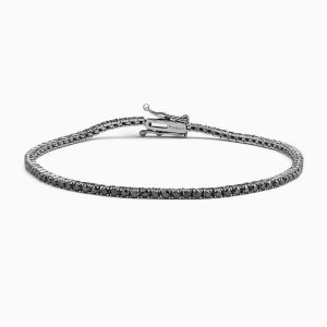 Riviere Type Bracelet with Black Diamonds