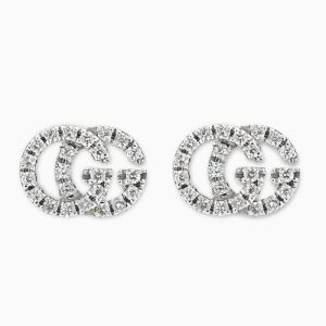Gucci stud earrings in white gold with diamonds