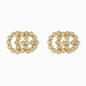 Gucci stud earrings in yellow gold with diamonds
