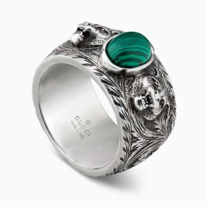 Gucci ring in sterling silver and green resine