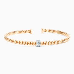 Gold Tubogas Bracelet with Diamonds