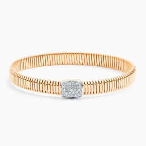 Gold Tubogas Bracelet with Central Diamond