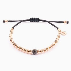 String bracelet, rose gold pearls and diamonds ball