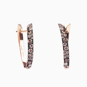 Pendientes Rabat de oro rosa con diamantes brown