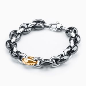 Black ceramic bracelet and a steel link