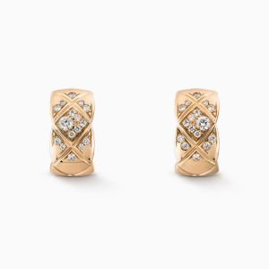 Earrings CHANEL Coco Crush beige gold with diamonds