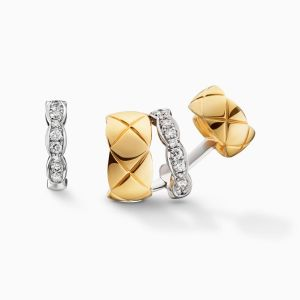 Earrings CHANEL Coco Crush yellow gold combined with white gold with diamonds
