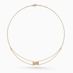 Collar CHANEL Coco Crush de oro beige con diamantes