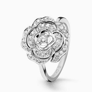Ring CHANEL Camelia white gold with diamonds