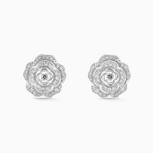 Earrings CHANEL Bouton de Camelia white gold with diamonds