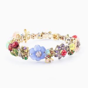 White gold bracelet with enamel flowers