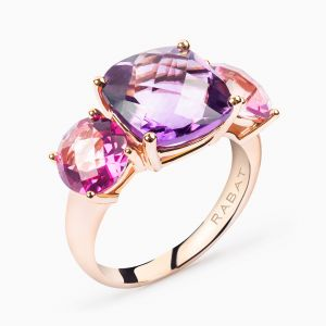 Rose gold ring with amethyst and topaz