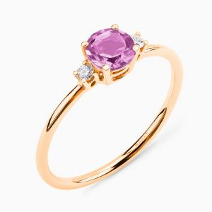 Anillo Rabat de oro rosa con amatista central y diamantes laterales