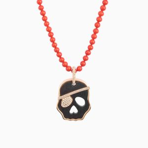 Coral Necklace and Diamond Skull