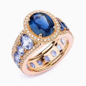 Rose Gold Ring with Sapphires and Diamonds