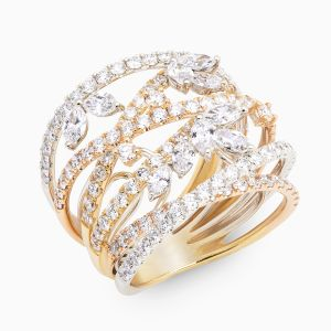 Ring Rabat yellow, rose and white gold combined with diamonds
