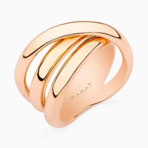Rose Gold Ring with Crossed Rows
