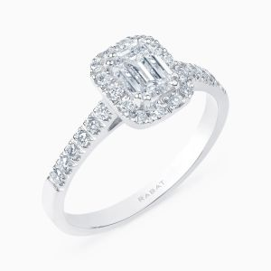 Solitaire Ring with Central Diamond and Diamond Arm
