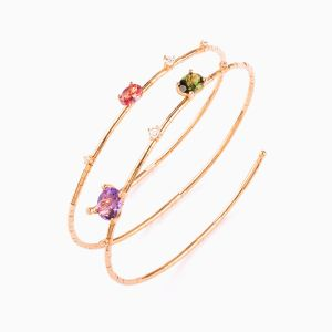 Rose Gold Bracelet with Colored Gems and Diamonds