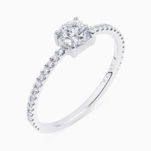 Poetic Thin solitaire engagement ring with diamonds pavé