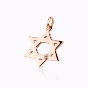 David's Star rose gold charm bracelet