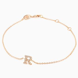 "Letter ""R"" bracelet in rose gold"