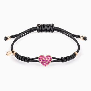 Pink Sapphire Heart Charm in a String Bracelet