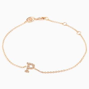 "Letter ""P"" bracelet in rose gold"