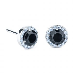 White gold earrings with black quartz and diamonds