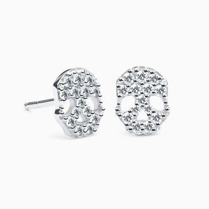 Diamonds Skull Earrings in White Gold AMULETTO