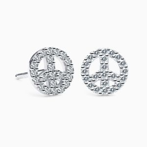 Diamonds Peace Simbol Earrings in White Gold AMULETTO