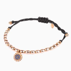 Golden Eye String Bracelet with Diamonds