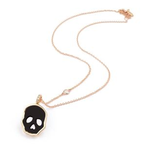 Nacre and diamonds Skull pendant