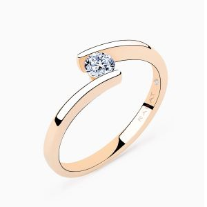 Anillo solitario Rabat Bridge of Love de oro rosa con diamante central