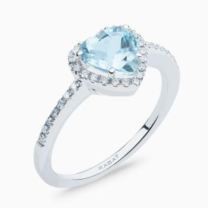 Aquamarine Solitaire Ring with Diamond Border