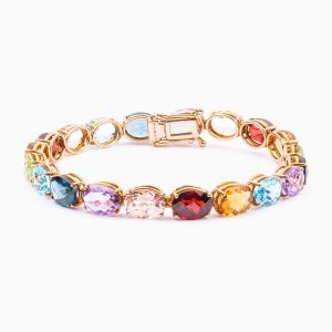 Rose gold bracelet with colored gems