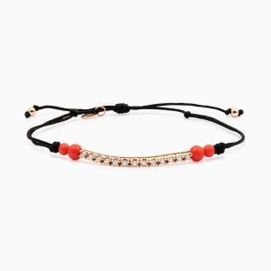 String bracelet with diamonds in rose gold and coral