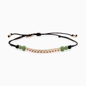 String bracelet with diamonds in rose gold and jade
